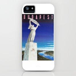 Budapest, Hungary, Gellért Hill, Liberty Statue, vintage poster iPhone Case