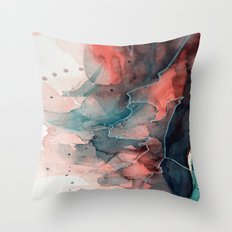 Watercolor dark green & red, abstract texture Throw Pillow