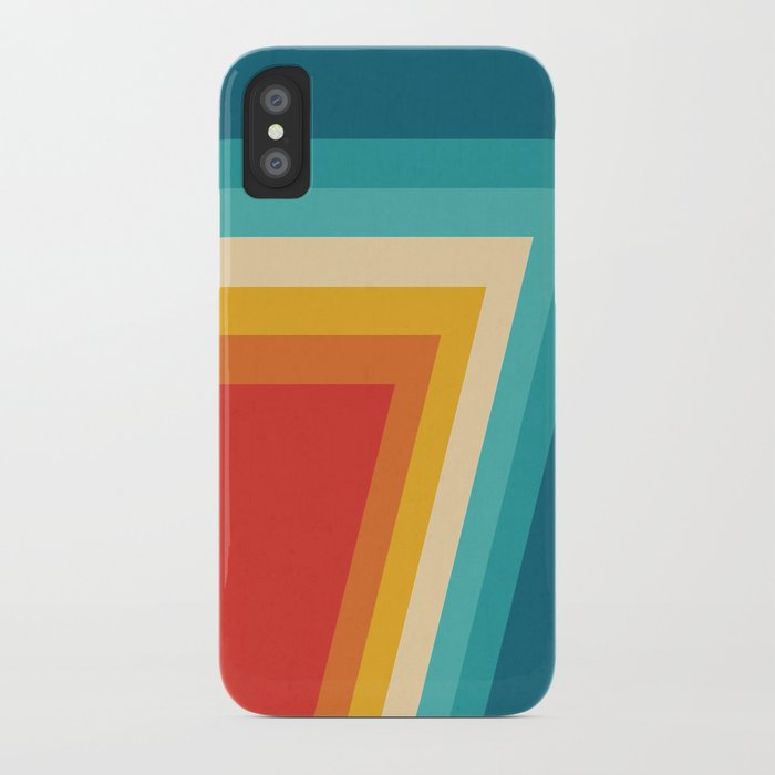 colorful retro stripes - 70s, 80s abstract design iphone case