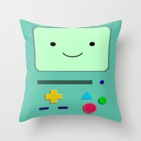 bmo Throw Pillows featuring BMO by skyetaylorrr