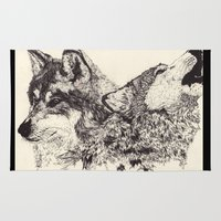 wolves Area & Throw Rugs featuring Wolves by Maria Gabriela Arevalo Reggeti