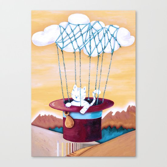 The cat traveling in dreams Canvas Print