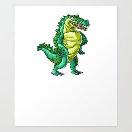 Crocodile Uncle Alligator Reptile Animal Art Print