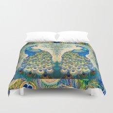 Blue Peacocks Duvet Cover