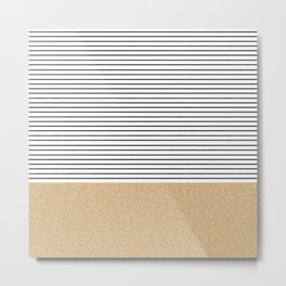 Minimal Gold Glitter Stripes Metal Print