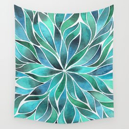 Floral Vines - Blue Green Wall Tapestry