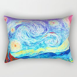 Psychedelic Starry Night Abstract Van Gogh Rectangular Pillow