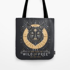 Wild & Free Wolf – Gold & Grey Tote Bag