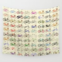 bicycles Wall Tapestries featuring Bikes by Wyatt Design