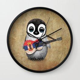 Baby Penguin Playing Serbian Flag Guitar Wall Clock
