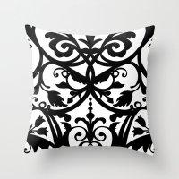 wall clock Throw Pillows featuring Folk Art wall clock by Laura Barrett