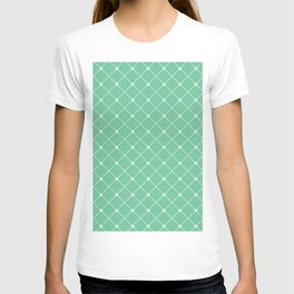 Geometrical abstract modern white green pattern T-shirt