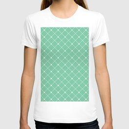 Geometrical abstract modern white green pattern T-shirt