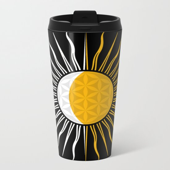 Lunar-Sol Flower Of Life Sun Moon & Stars Black White Yellow Metal Travel Mug