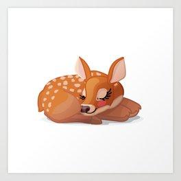 Cute fawn Red deer (Cervus Elaphus). Sleeping baby bambi Art Print