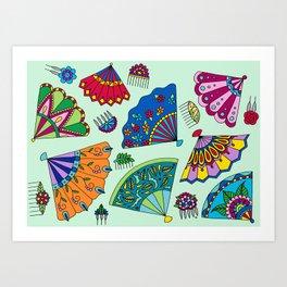 Colorful Fans Art Print