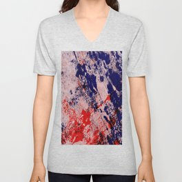Hot And Cold - Textured Abstract In Blue, Red And Black Unisex V-Neck