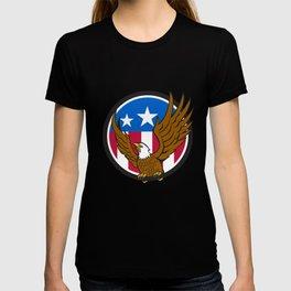 Bald Eagle Spread Wings USA Flag Circle Retro T-shirt