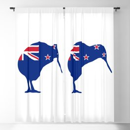 New Zealand Flag With Kiwi SIlhouette Blackout Curtain