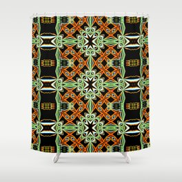 African Orange Pattern - Tribal Vibes Collection Shower Curtain