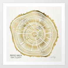 Paper Birch – Gold Tree Rings Art Print