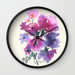 Little Pink Rose Bouquet Wall Clock