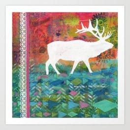 How Wild It Was Elk Collage Art Print