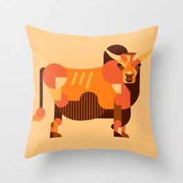 Bull Orange Throw Pillow