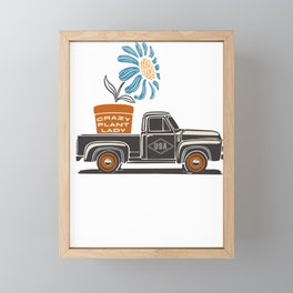 Crazy Plant Lady Quote / Cute Retro Truck Flower Garden Art design Framed Mini Art Print