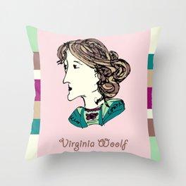 Virginia Woolf - hand-drawn portrait Throw Pillow