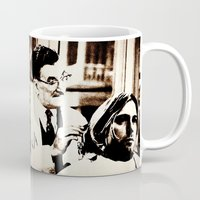 kurt rahn Mugs featuring Kurt & Floyd  |  Grunge Collage by Silvio Ledbetter