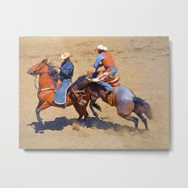 The Saddle Bronc and the Pickup Man - Rodeo Art Metal Print