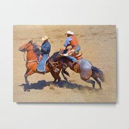 The Saddle Bronc and the Pickup Man - Rodeo Art Metal Print