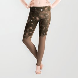 Honey Beige Golden Sparkle Lights Leggings