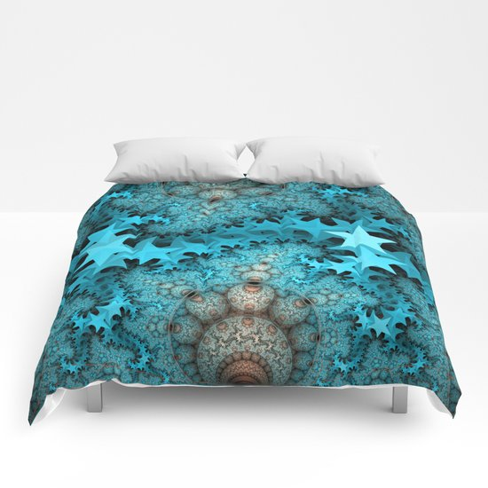 Cute blue stars and decorative orbs, fractal abstract Comforters