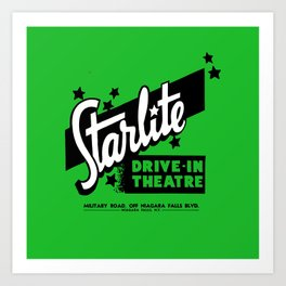 Starlite Drive In Green Art Print