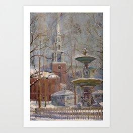 Arthur Clifton Goodwin - Park Street at Boston Commons (1910s) Art Print