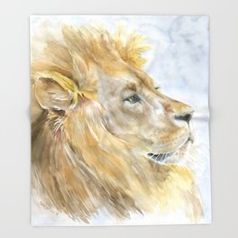 African Lion Watercolor Throw Blanket