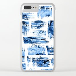 Watercolor blue brush Clear iPhone Case