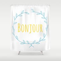bonjour Shower Curtains featuring Bonjour by Made 4 travel