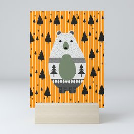 Cute bear, stripes and a fir forest Mini Art Print