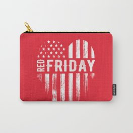 Red Friday Distressed USA Heart Military Carry-All Pouch