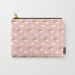 Little Rainbows and Clouds on Coral Pink pattern Carry-All Pouch