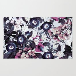 Bohemian Floral Nights Pink and Gray Rug