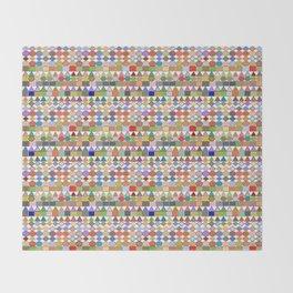 Modern Tribal Geometric, Multi Pastels on White Throw Blanket