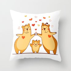 Family of bears Throw Pillow