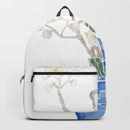 red camellia  flower white plum flower in blue vase Backpack