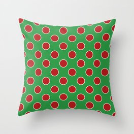 Christmas Polka Dots in Red and White on Green Throw Pillow