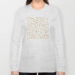 Gold glitter confetti on white - Metal gold dots Long Sleeve T-shirt