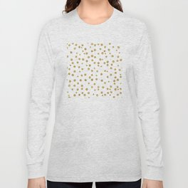 Gold glitter confetti on white - Metal gold dots Long Sleeve T-shirt